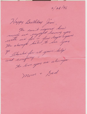 Letter from Mom and Dad Birthday 1996